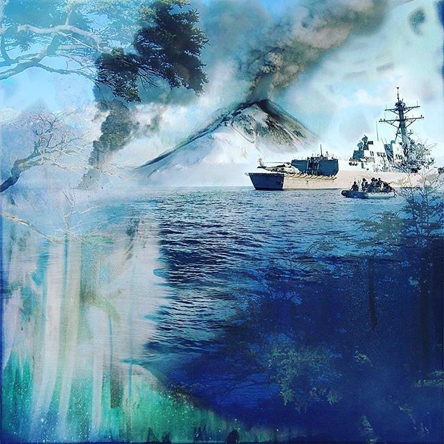 #pirates #volcano #mixedmedia #digitalprint